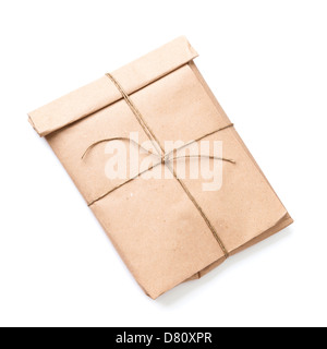 Envelope tied with a rope isolated on white background with soft shadow - Stock Photo