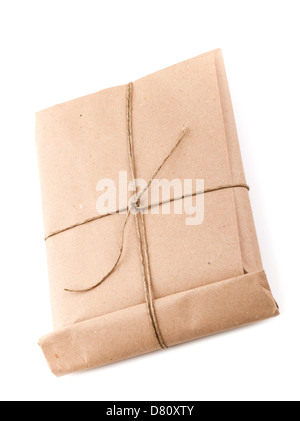 Closed envelope tied with a rope isolated on white background with soft shadow - Stock Photo