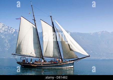 Sailing Ship Lake Garda Italy - Stock Photo