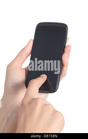 Woman hands holding and touching a mobile phone screen with her finger isolated on a white background - Stock Photo