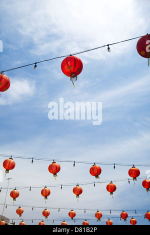 Chinese lanterns in Chinatown Los Angeles, California - Stock Photo