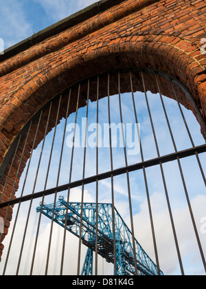View of the Transporter Bridge from the arches on Vulcan Street, Middlesbrough, England - Stock Photo