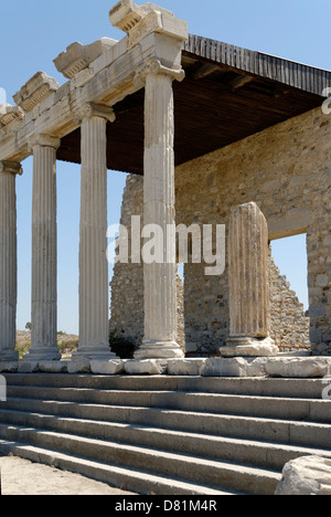 Miletus. Turkey. View of the partially restored Ionic Stoa which was built in 50 AD by Emperor Tiberius Claudius - Stock Photo