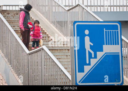 Mother with daughter on stairs in Beijing, China - Stock Photo