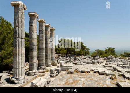 Priene. Turkey. The ruins and the five re-erected columns of the 4th century Temple of Athena Polias at Priene. - Stock Photo