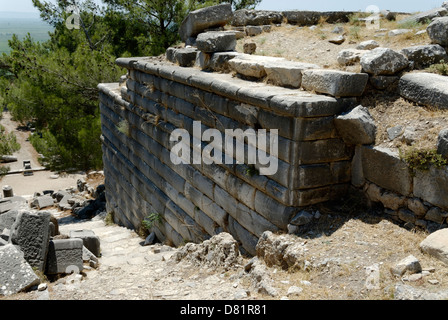Priene. Turkey. Section of the ancient terraced wall that supports the foundations of the 4th century Temple of - Stock Photo