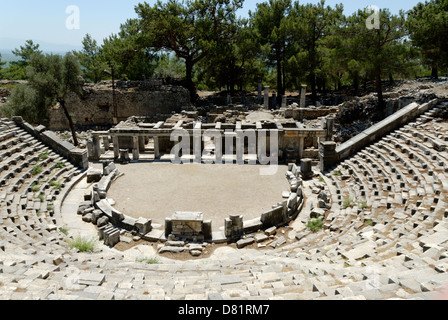 Priene. Turkey. Rer view of the 4th century BC theatre in Priene. Located in the northern part of the city the theatre - Stock Photo