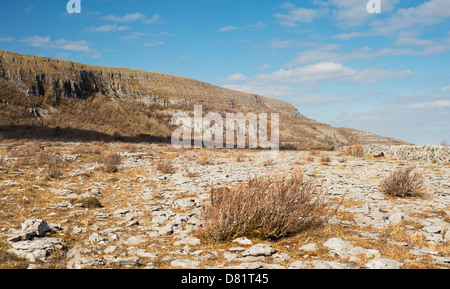 Limestone pavement in front of Slieve Carran at Keelhilla National Nature Reserve, the Burren, County Clare, Ireland - Stock Photo