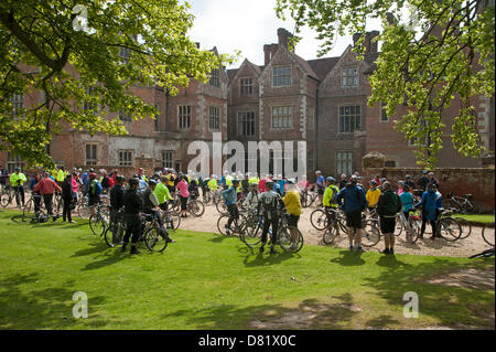 Cyclists at the start of a charity ride in aid of the Help for Heroes charity. Breamore House Hampshire England - Stock Photo