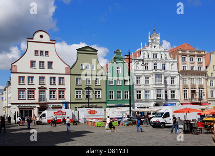 Houses at New Market, Rostock, Mecklenburg-Western Pomerania, Germany - Stock Photo