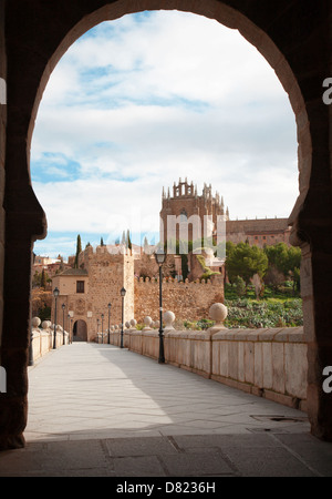 Toledo - Outlook form San Martin s bride or Puente de san Martin to Monastery of saint John of the King in morning - Stock Photo