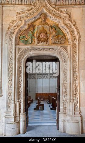 TOLEDO - MARCH 8: Look to Gothic atrium over the portal in Monasterio San Juan de los Reyes - Stock Photo