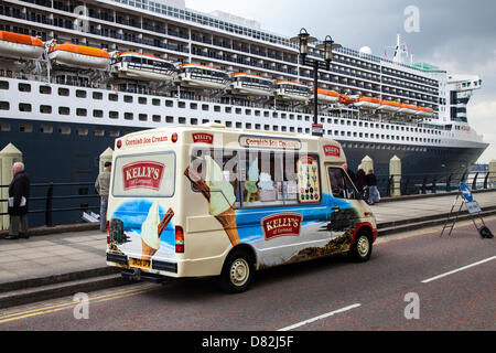 Liverpool, UK 17th May, 2013. Cornish Ice cream vendor van at the Big Cruise Liner Terminal where the Passenger - Stock Photo