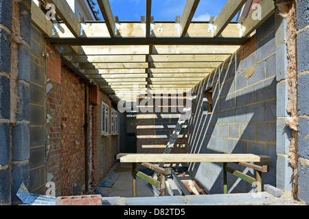 New kitchen part of two storey extension under construction to side of detached house Essex England UK see 'More - Stock Photo