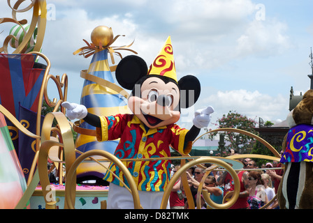 Mickey Mouse character on Disney World parade - Stock Photo