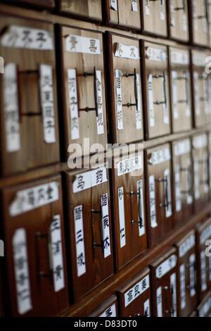 Drugstore medicine cabinets close-up - Stock Photo