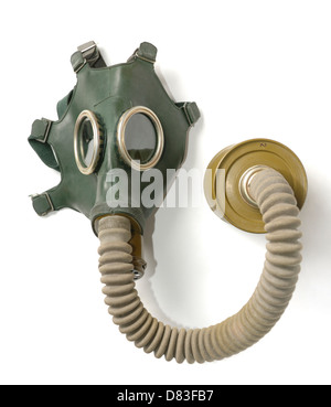 Gas mask with a charcoal filter isolated on white background - Stock Photo