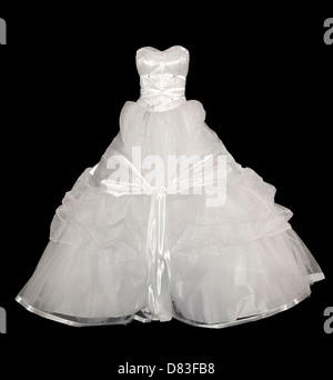 White wedding gown isolated with a clipping path on black background - Stock Photo