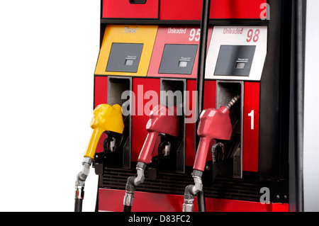 Gas pump with unleaded 95 and 98 petrol, regular and premium gasoline, and diesel fuel isolated on white background - Stock Photo