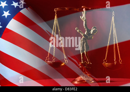 American flag over justice scales concept - Stock Photo