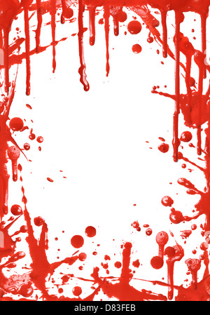 Frame from red paint drips on white background - Stock Photo