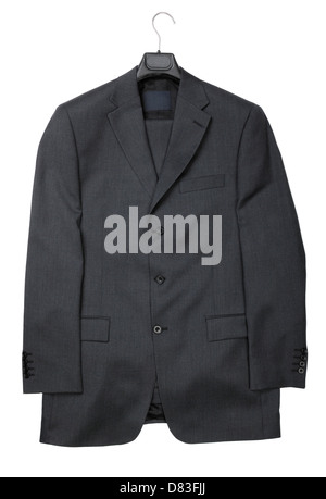 Dark gray business suit jacket isolated on white background - Stock Photo