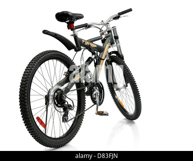 MTB sport 21-speed dual suspension mountain bicycle Isolated on white background - Stock Photo