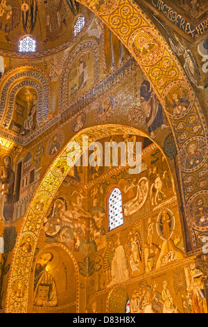 PALERMO - APRIL 8: Mosaic of Cappella Palatina - Palatine Chapel - Stock Photo