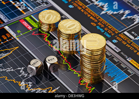 Dices cubes with the words SELL BUY, Uptrend stacks of golden coins. Financial chart as background. Selective focus - Stock Photo