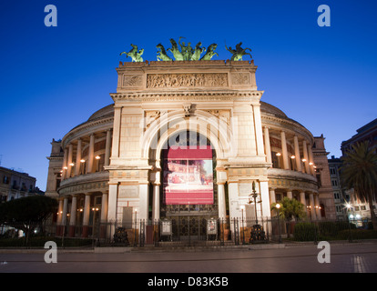 Palermo - Teatro Politeama Garibaldi in dusk - Stock Photo