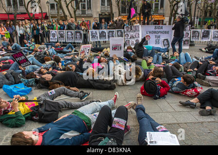 Paris, France, Anti- Homophobia Demonstration, Rally, Act Up Paris, AIDS Activist, stage a 'Die-in' in memory of - Stock Photo