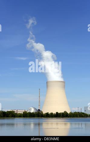 The nuclear reactor Isar near Landshut belongs to the E.ON-company - Stock Photo