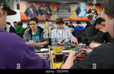 Participants of the German Yu-Gi-Oh! Trading Card Game Championships play against each other in Schkeuditz, Germany, - Stock Photo