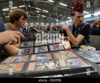 Participants of the German Yu-Gi-Oh! Trading Card Game Championships exchange strategy cards in Schkeuditz, Germany, - Stock Photo