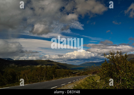 Mountainlandscape from Jotunheimen at the edge of Jotunheimen National Park. - Stock Photo