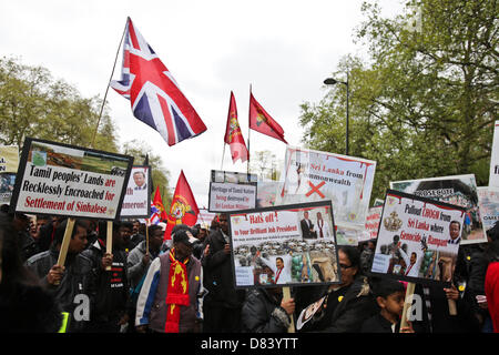 London, UK. 18th May 2013. . Thousands of Tamils march through central London to commemorate those killed during - Stock Photo