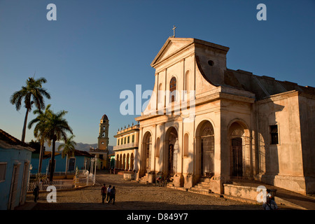 bell tower of the Convento de San Francisco and the Church of the Holy Trinity on the square Plaza Mayor in Trinidad, - Stock Photo