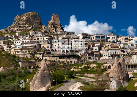 The town of Uchisar with the Castle Rock, Cappadocia, central Anatolia, Turkey - Stock Photo