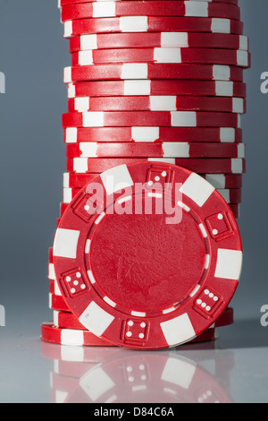gambling casino color chips on table - Stock Photo