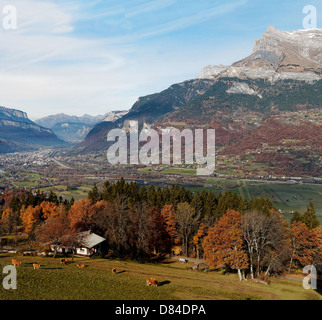 Colorful French Alps Landscape, Arve Valley, Sallanches on the background.Views from Comboux Mountain Side. - Stock Photo