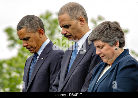 US President Barack Obama with Attorney General Eric Holder and Homeland Security Secretary Janet Napolitano during - Stock Photo