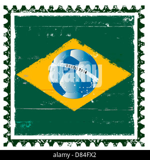 Brazil flag like stamp in grunge style - Stock Photo