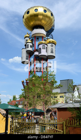 The so called Kuchlbauer Tower by Friedensreich Hundertwasser is situated at the Kuchlbauer Brewery in Abensberg - Stock Photo