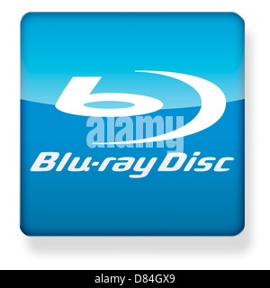Blu ray disc logo as an app icon. Clipping path included. - Stock Photo
