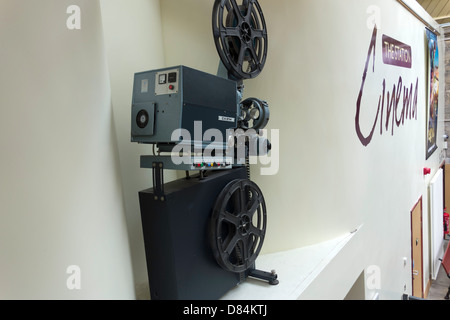 Cinema film projector at The Station a former railway train station at Richmond Yorkshire now an arts centre cinema - Stock Photo