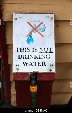 This is not drinking water sign on outside tap of railway station , Tenterden , Kent , England - Stock Photo