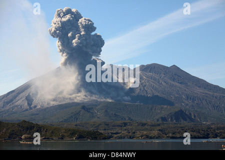 Ash cloud rising from Sakurajima volcano, Japan - Stock Photo