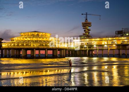 The pier in Scheveningen at night, The Hague, Netherlands - Stock Photo