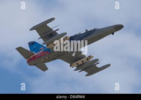 Czech Air Force Aero L-159T Advanced Light Combat Aircraft (ALCA), in flight over the Czech Republic. - Stock Photo