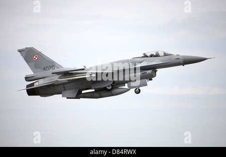 A Polish Air Force F-16C Block 52 aircraft gets airborne during the NATO TLP exercise in Spain. - Stock Photo
